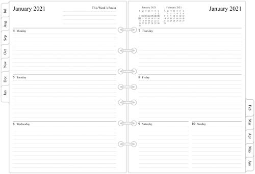2020-2021 Weekly & Monthly Planner Refill, 5-1/2