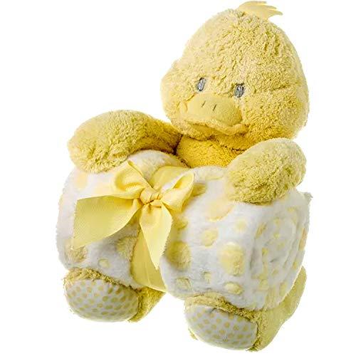 Peluche Manta Bebe Recien Nacidos Set Regalo para Bebes - Conjunto para Nacimiento Cumpleaños Bautizo - Mantita de Arrullo Polar Conejo Pato Medidas 100x75cm – 25cm. AMARILLO
