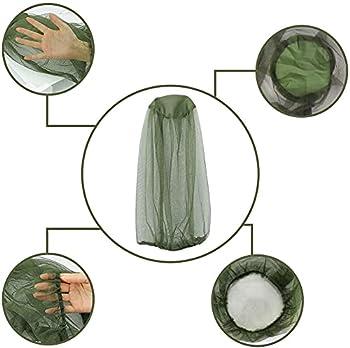 Lot de 4 filets de tête anti-moustiques - Filet idéal pour cacher le visage et le cou - Pour tout amateur - Convient à la taille du bonnet - Vert capacitif