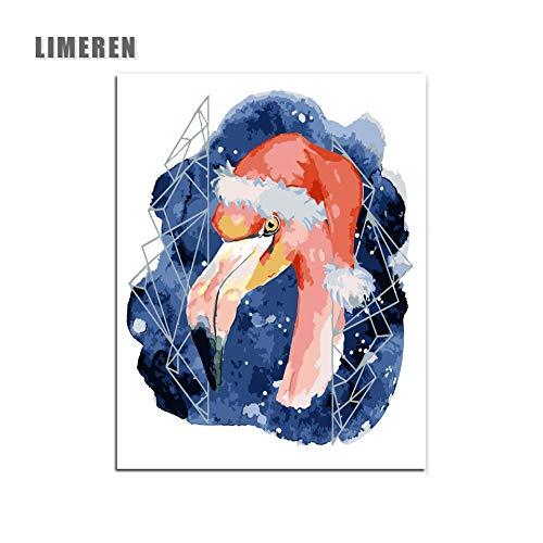 MBYWQ Schilderij Numero Ins Flamingo Kerstmuts, modern, olieverfschilderij, knutselen op canvas, voor woonkamer (zonder lijst)