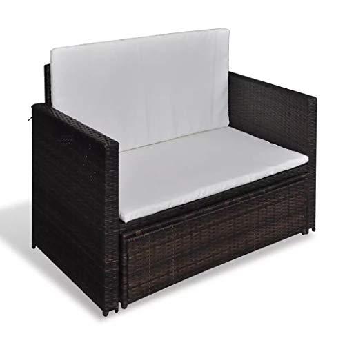 3 in1 Poly Rattan Braun Lounge Gartensofa Gartengarnitur, Rattan-Lounge, Indoor & Outdoor, 2er Garten-Sofa inkl. Kissen & Auflagen,Sofa-Set Garnitur Gartenmöbel Couch-Set - 4