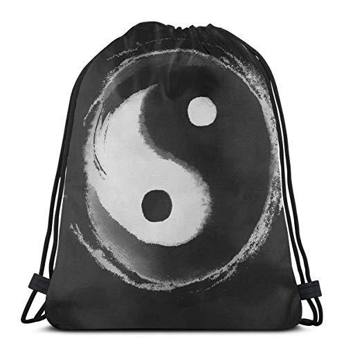 Drawstring Stuff bagsGym Bag Yin Yang Adjustable Straps Drawstring Backpack Bags Personalized Cinch BagSack Cinch Bag36 X 43CM