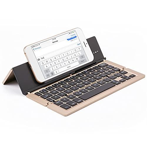 FFZQ Teclado Plegable portátil de Aluminio, Teclado Bluetooth, Escritorio Compatible, Compatible con escritorios, Accesorios de Entretenimiento de Oficina,B