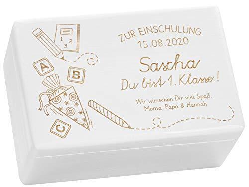LAUBLUST Holzkiste mit Gravur - Personalisiert mit ❤️ Datum | Name | WIDMUNG ❤️ - Weiß, Größe M - Schultüte Motiv - Geschenkkiste zur Einschulung