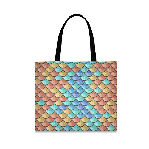 Canvas Tote Bag Colorful Fish Scales Shopping Cloth Bag Reusable Grocery Bag Shoulder Bags