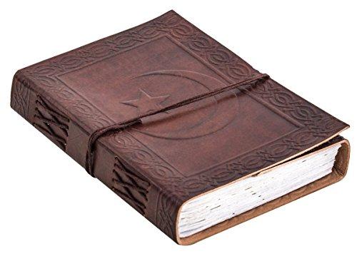 Hilal Notitieboek van Gusti leer, DIN B6, lederen boek, notitieblok, dagboek, schetsboek, leren accessoire, fotoboek, reisdagboek, receptenboek, motief maansikkel, bruin P60