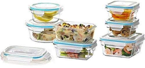 Zanzer 7-Piece Glass Container Set - Glass Storage Containers with Lids - Food Storage - Meal Prep Containers