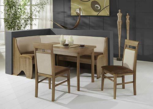 expendio Eckbankgruppe Samantha Noce Dekor 165x125 cm 2X Stuhl Esstisch Ausziegtisch Eckbank Essgruppe Truhenbank Esszimmer Küche Tisch