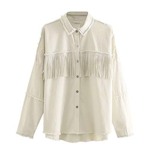 N\P Botonadura Borla Chaqueta Blanco Jean Chaqueta Abrigo para Mujer Remache Denim Coat soutwear