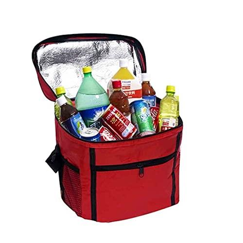SONG Kühlertasche, isolierte Einkaufstaschen für Lebensmittel, waschbar, verstärkter Boden und Griffe, robuster Reißverschluss, für Campingfamilie im Freien (Color : Red, Größe : One Size)