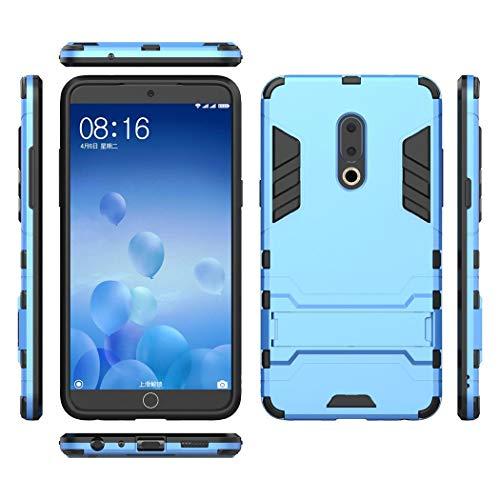 Ycloud Rüstung Hülle für Meizu 15 Plus Smartphone, Dual Layer Hybrid Heavy Duty Harte PC Handyhülle mit Ständer stoßdämpfend Rückseite Hülle (Blau)