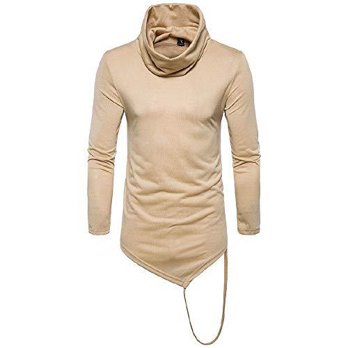 QWY Männer-Pullover mit Stehkragen Langarm-T-Shirt Unregelmäßige Solid Color Design-,D-M