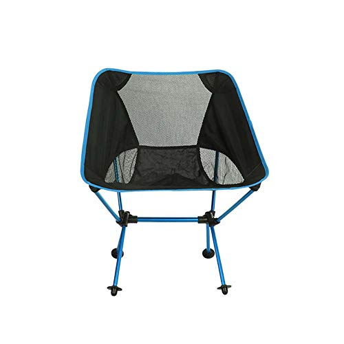 ZJING Outdoor Camping Chaise Pliante, Chaise de pêche Portable en Aluminium Ultra-léger, Chaise de Croquis Occasionnel,Blue