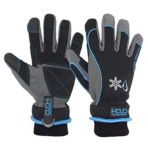 Waterproof Insulated Work Gloves, Thermal Winter Gloves for Men Women Touch Screen, Warm Ski Snowboard Cold Weather Gloves (XL, Blue)