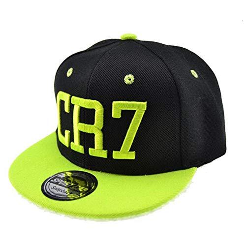 WULIAN Klassische Kinder Cr7 Stickerei Baseball Caps Cristiano Ronaldo Snapback Hip Hop Hut für Kinder, grün, 50-55 cm