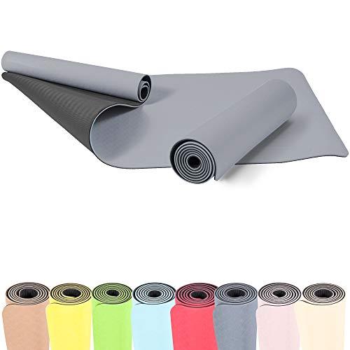 GORILLA SPORTS® Yogamatte 180 x 60 x 0,6 cm TPE rutschfest – Matte für Fitness, Yoga, Pilates, Gymnastik in Grau