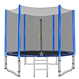 GARTIO 10 FT Trampoline with Safety Enclosure Net, Combo Recreational Trampoline, for 3-5 Kids Adults Outdoor Bounce Exercise, with Round Spring Pad & Ladder, Family Outdoor Backyard