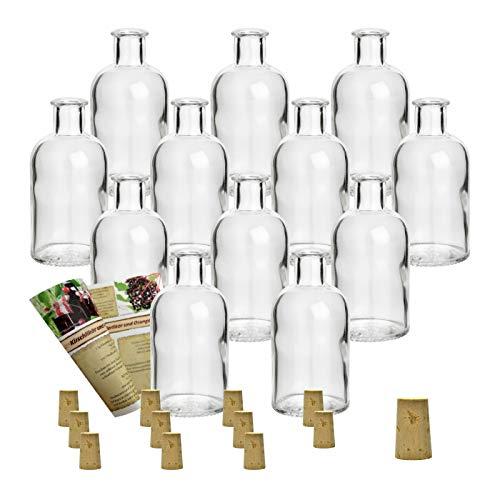 Juego de botellas de cristal «Apotheker» de Gouveo, con corcho incluido, para rellenar con licores, Verschluss Spitzkorken, 12er Set