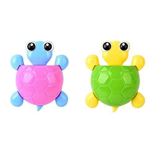 F Fityle 2 x Schildkröte Saugnapf Kinder Zahnbürstenhalter Wandhalterung für Zahnbürste Zahnpasta - Rosa + Grün