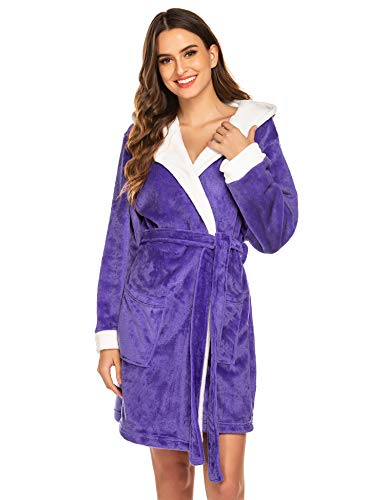 Hotouch Fleece Bathrobe Womens Terry Cloth Thick Kimono Fleece Robes with Hood Purple 2XL