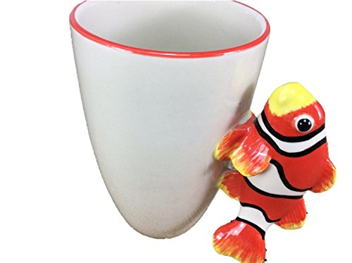 Clownfish Fish Mug Enamel Sharks Cartoon Painted Milk Glass Coffee cup Cute Mug Pottery Mugs Anime Tea Cup Giant Mug Spirit Animal for Kid