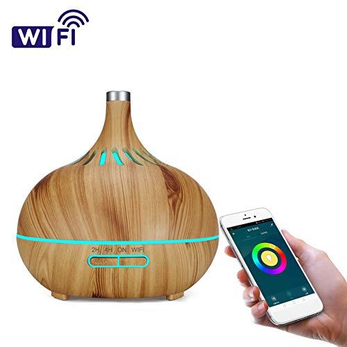 CS-JSQ Wi-Fi Smart Diffusor für ätherische Öle Echo Alexa Control, 400 ml Ultraschall-Aromatherapie-Luftbefeuchter mit duftendem Öl, Timer und automatischer Abschaltung, 7 LED-Lichtfarben,Lightcolor