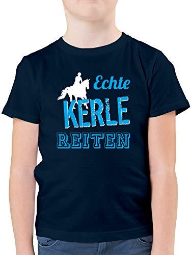 Sport Kind - Echte Kerle reiten - 164 (14/15 Jahre) - Dunkelblau - reiten Tshirt Junge - F130K - Kinder Tshirts und T-Shirt für Jungen