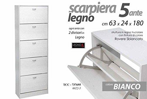 Gicos SCARPIERA BIANCA IN LEGNO ROVERE 5 ANTE 10 DIVISORI 63*24*180 CM TCC-737695
