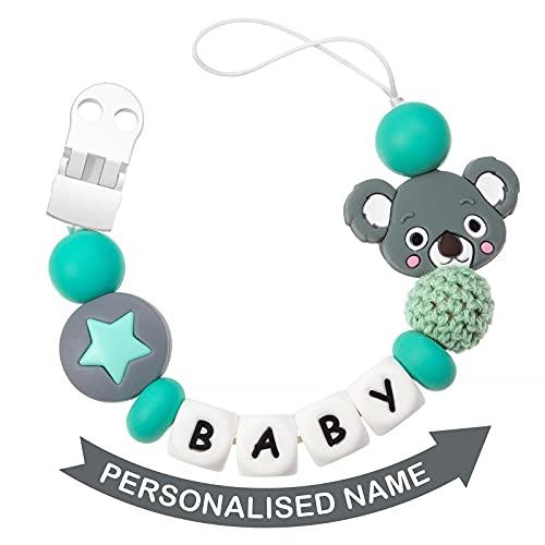 Cadena Para Chupetes Personalizado Para Bebe con Nombre Silicona Clips de Chupete Soothie Clip Corona Mordedor Sin BPA (Gris)