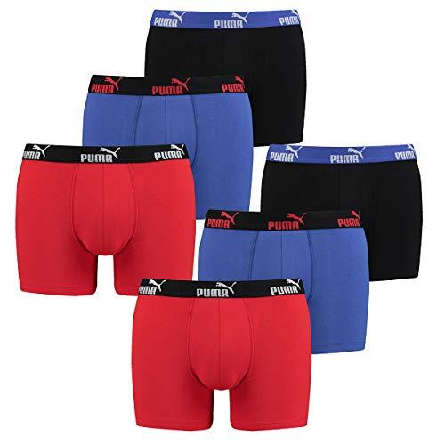 PUMA 6 er Pack Boxer Boxershorts Herren Unterwäsche sportliche Retro Pants, Farbe:030 - Blue/Red, Bekleidungsgröße:L