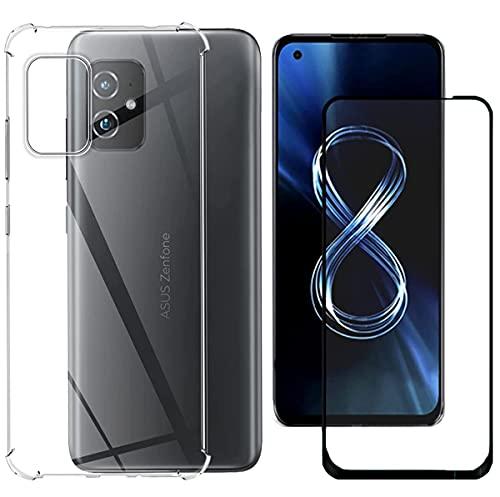 Boleyi Voor ASUS Zenfone 8 ZS590KS Case Met Screen Protector, [2 in 1] TPU Siliconen Case + [1 PACK] 9H Gehard Glas Screen Protector Voor ASUS Zenfone 8 ZS590KS