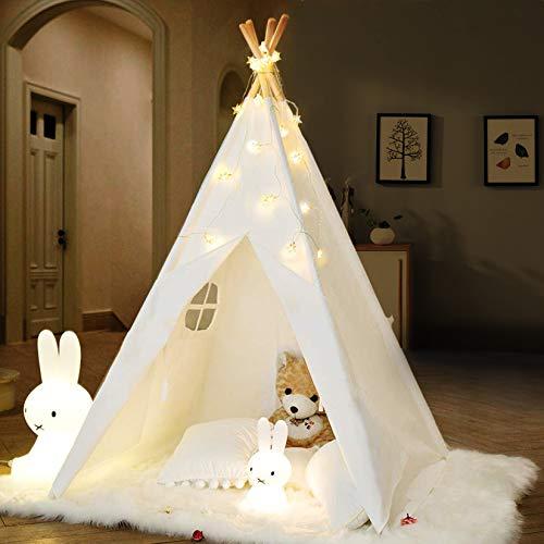 Tipi Infantil Tienda para niños con Luces de Hadas & Luz de Hadas & Alfombra Del Piso - Tienda de campaña para niños y niñas de Interior y Exterior