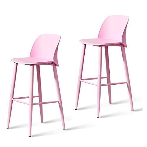 Lyrwishjd - 2 taburetes de plástico PP para bar, silla de comedor, silla de ocio, taburete alto, muebles de diseño creativo, fáciles de limpiar y montar (tamaño: sentado 65 cm de altura) (color: rosa)