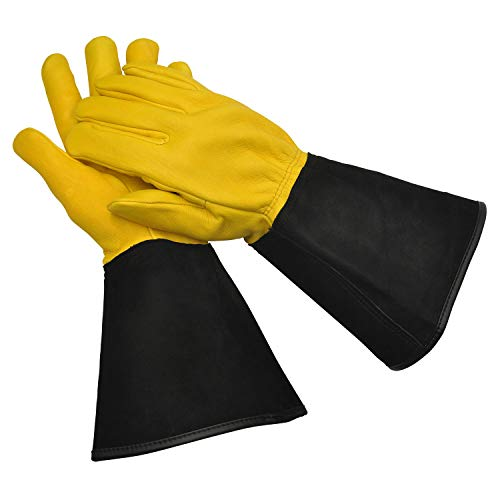 WAGNER Gold Leaf Gloves - TOUGH TOUCH - Herren - Gartenhandschuhe / Rosenhandschuhe der Extraklasse / Hirschleder und Rindsleder / stachelresistente Stulpe / RHS Auszeichnung - 25305001