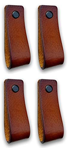 Brute Strength - Ledergriffe Möbel - Cognac - 4 Stück - 16,5 x 2,5 cm - enthält 3 Schraubenfarben pro Ledergriff für Küchenschränke - Bad - Schränke