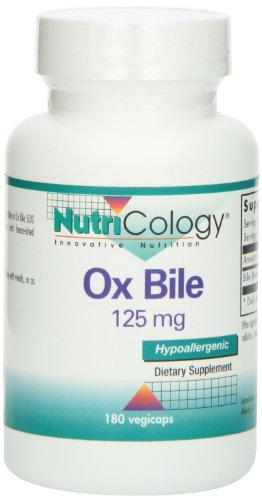 Nutricology, Ox Bile, 125 mg, 180 Cápsulas