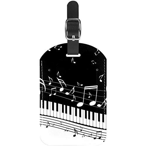 Etichette per bagaglio Pianoforte con note musicali Etichette per valigie da viaggio in pelle 1 pacco