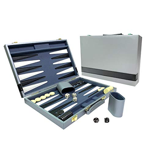 Sun Flair Backgammon Set Leatherette 15 inch, Folding Classic Board Game, Smart Tactics Premium Best Strategy, Tip Guide Enclosed, Gray and Black 136M-5