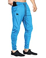 BROKIG Mens Lightweight Gym Jogger Pants,Men's Workout Sweatpants with Zip Pocket(Light Blue,XX-Large)