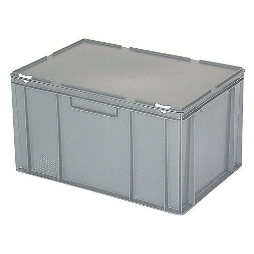 Eurobehälter mit anscharniertem Deckel, Industriequalität, lebensmittelecht, LxBxH 600 x 400 x 330 mm, grau