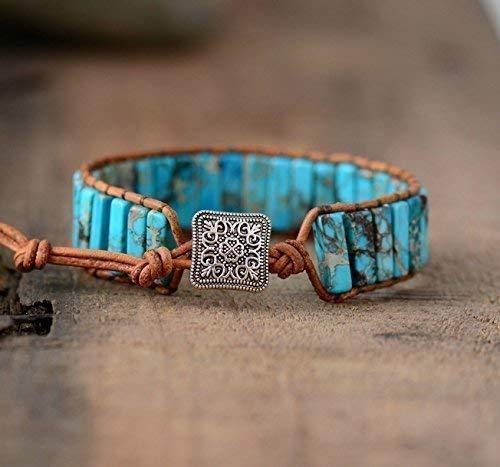 Leather Bracelet Aqua Blue Leather Cuff