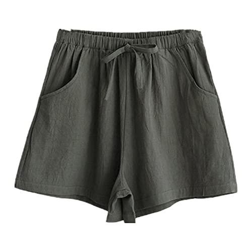 N\P Pantalones cortos de mujer de verano casual de algodón de lino pantalones cortos más tamaño cintura media
