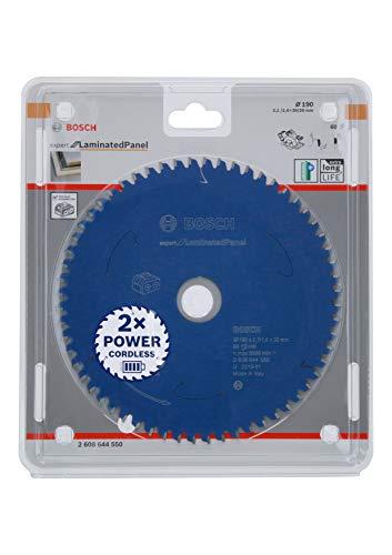 Bosch Professional Lama per sega circolare Expert for Laminated Panel (truciolato, 190 x 30 x 2.1 mm, 60 denti, accessorio per sega circolare a batteria)