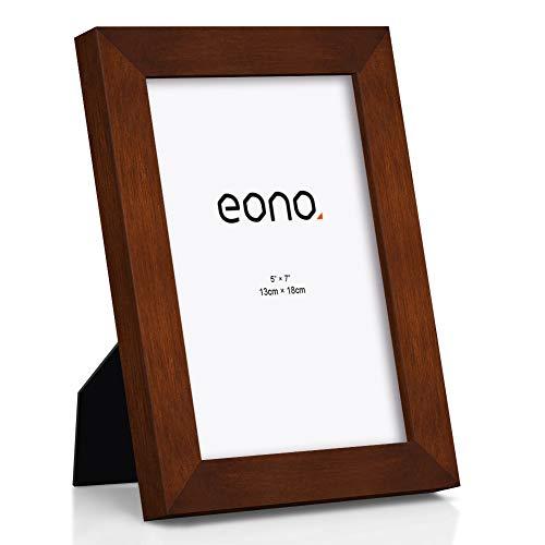 Eono by Amazon - 13x18 cm Bilderrahmen Hergestellt aus Massivholz und Hochauflösendem Glas Geeignet zum Aufstellen oder Wandhängend Fotorahmen Braun