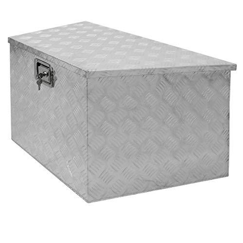 ECD Germany Alu Werkzeugkasten 82/50 x 50 x 47 cm - abschließbar - Werkzeugkoffer Werkzeugkiste Werkzeugbox Alukiste Kiste Alubox Transportbox Transportkiste Deichselbox Truckbox Box
