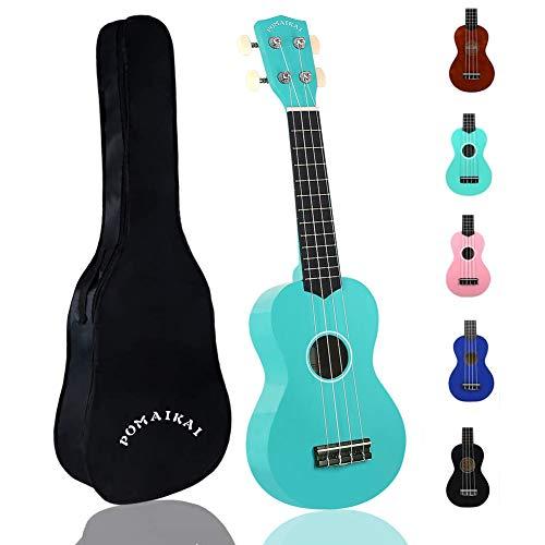 POMAIKAI Soprano Ukulele for Beginners, Kid Guitar 21 Inch Ukelele Instrument for Adults Wood Toddler Guitar Small Hawaiian Ukalalee Starter with Gig Bag (Light Blue)