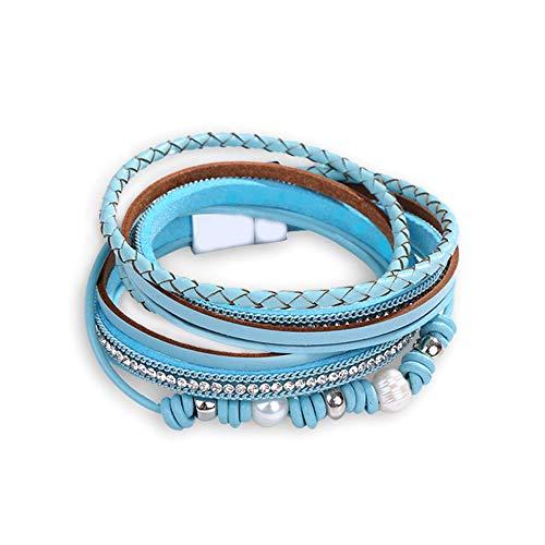 Bracelet de cuir pour les femmes multi corde bracelets manchette bracelets faits à la main de Bohème bracelets cadeau (blau)