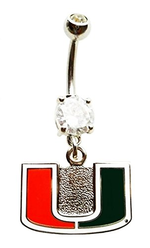 UNIVERSITY OF MIAMI HURRICANES CZ Navel Belly Button Ring Body Jewelry Piercing