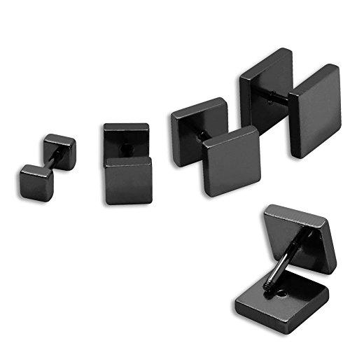 SoulCats® 1 Paar Fakeplugs/Ohrstecker aus Edelstahl eckig schwarz, Größe:6 mm