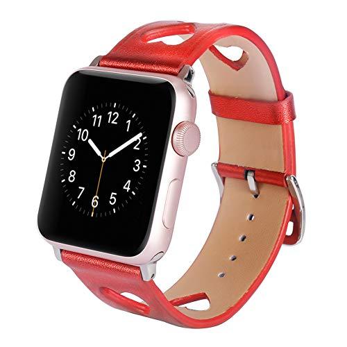 Vozehui Correa compatible con Apple Watch Correa de 40 mm 38 mm, diseño de amor de cuero hueco para mujeres y niñas, correa de cuero transpirable antifractura para iWatch Series SE/6/5/4/3/2/1